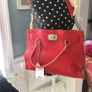 NWT Charles Jourdan Paris Turn-Lock Red Handbag